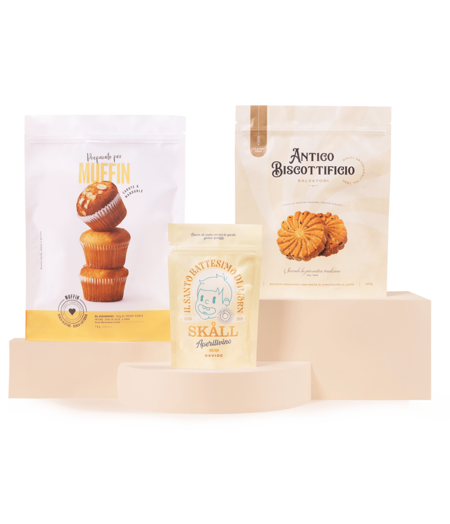 Busta termosaldabile doypack o piatta 3 saldature personalizzata - sample kit - materiale carta e alluminio - materiale bianco opaco con zip richiudibile - packaging pasticceria cioccolato muffin snack